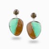 Smokey Quartz & Chrysoprase In Matrix Stud Drop Earrings