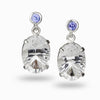 Tanzanite and Clear Quartz Drop Earrings