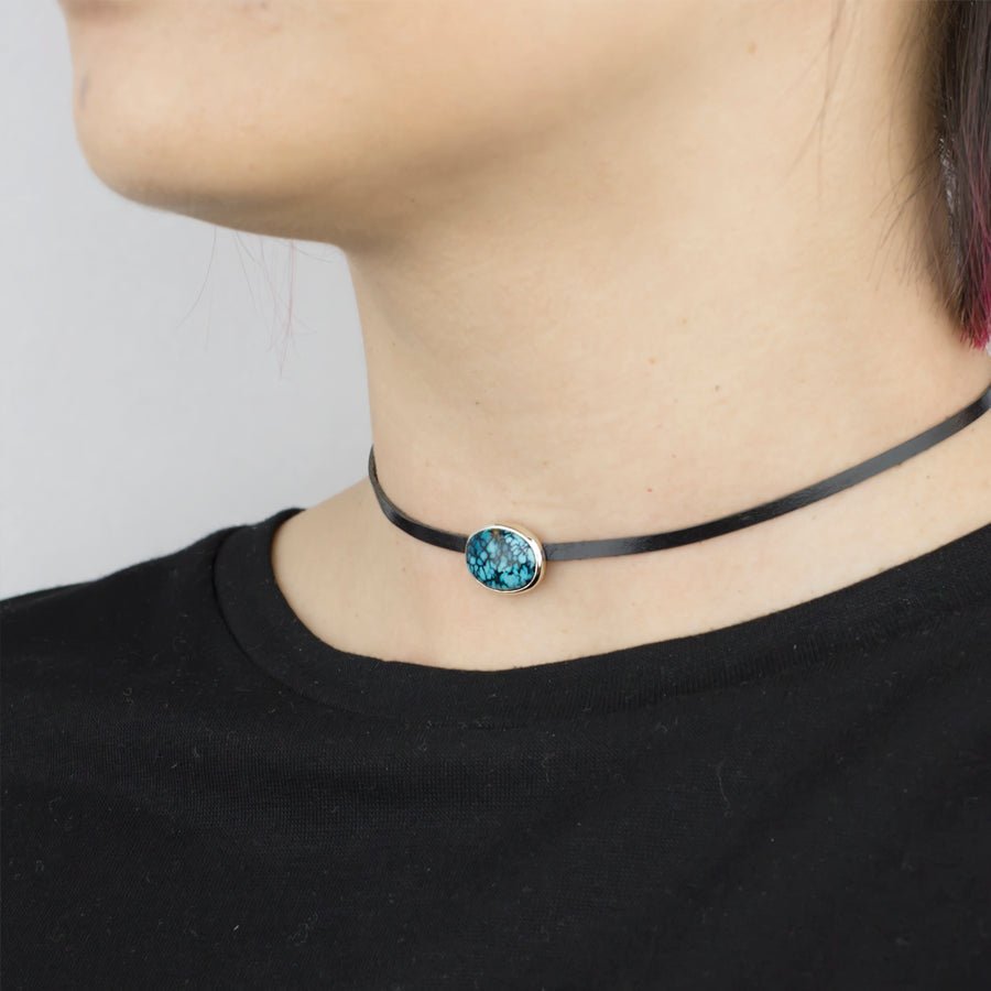 Tibetan Turquoise Leather Necklace