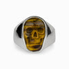 Tiger Eye Skull Mens Ring