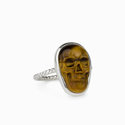 Tiger Eye Skull Ring