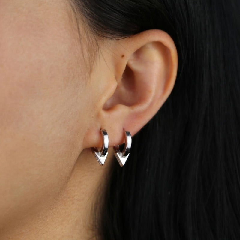 Triangle Huggie Earrings