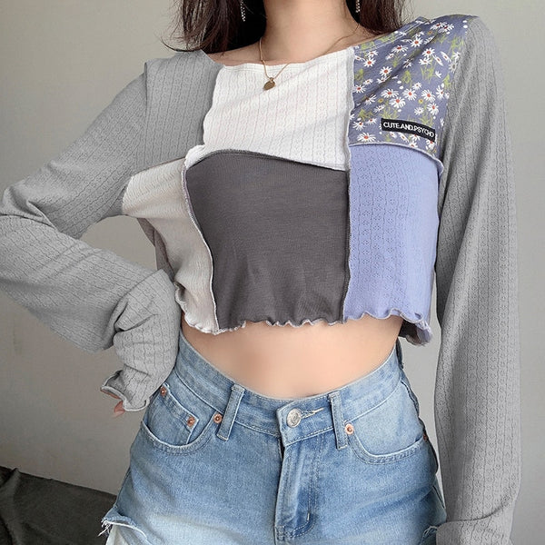 Cute And Psycho Patchwork Long Sleeve