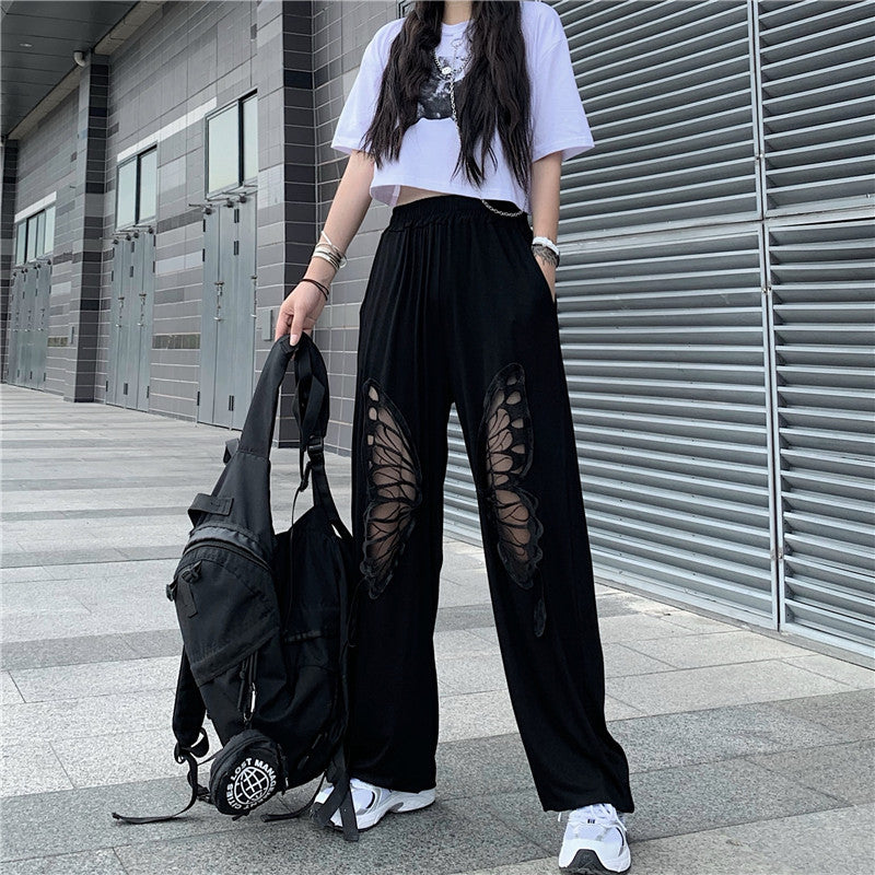 Florence Split Embroidery Wide Leg Pants