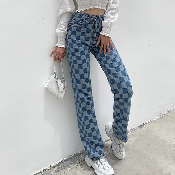 Trish Checkered Denim Jeans