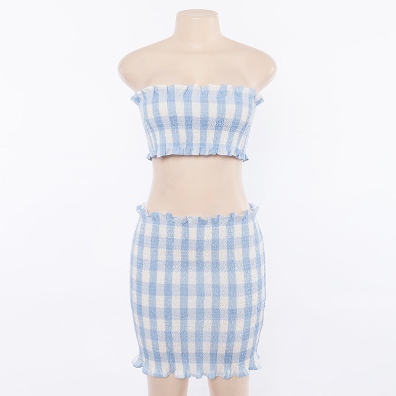 Evie Blue Plaid Set