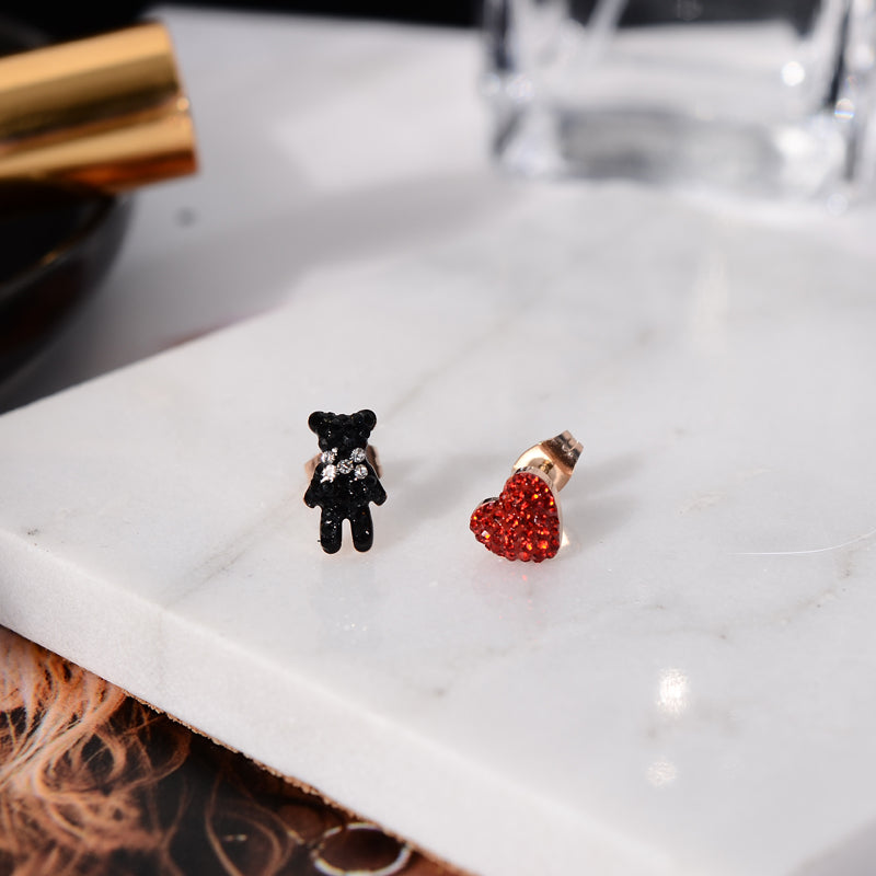 Teddy Asymmetrical Stud Earrings