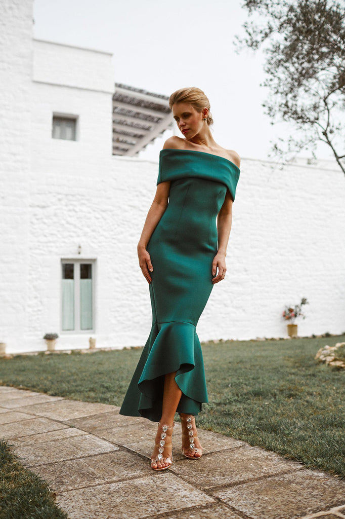 teal scuba green dress bridal bridesmaids evening dress