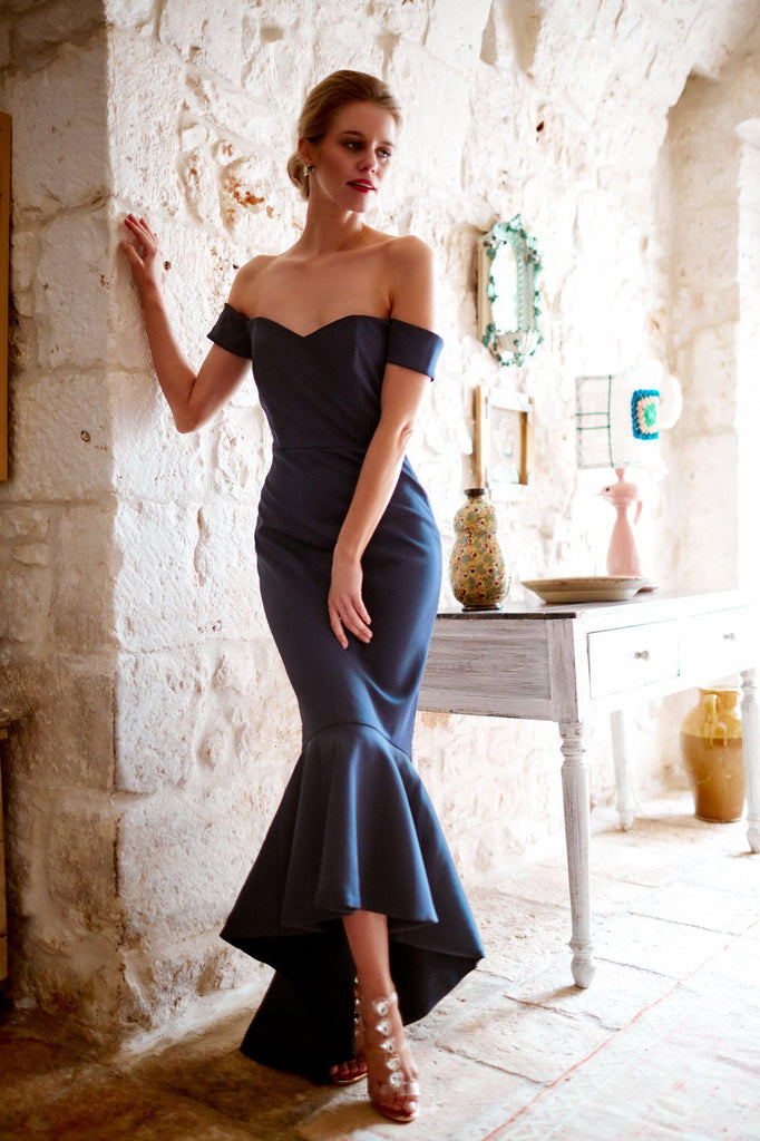 womens blue navy fishtail dress evening bridesmaids royal
