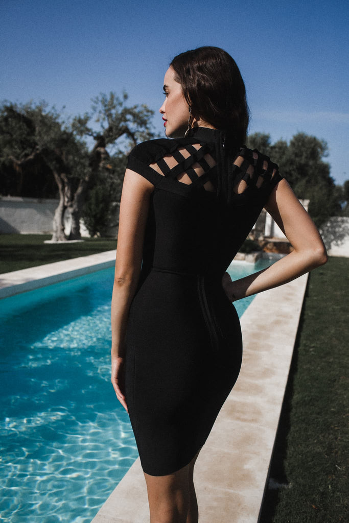 womens bandage dress caged luxury bodycon sexy