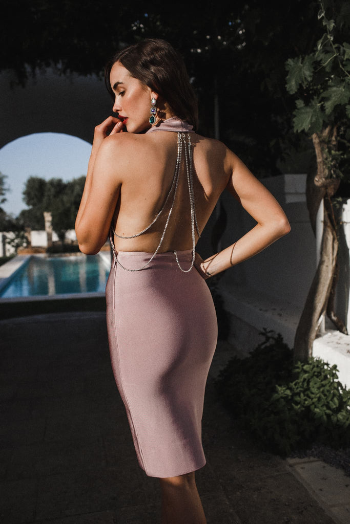 womens sexy bodycon bandage dress blush purple crystals plunge open sexy backless beige