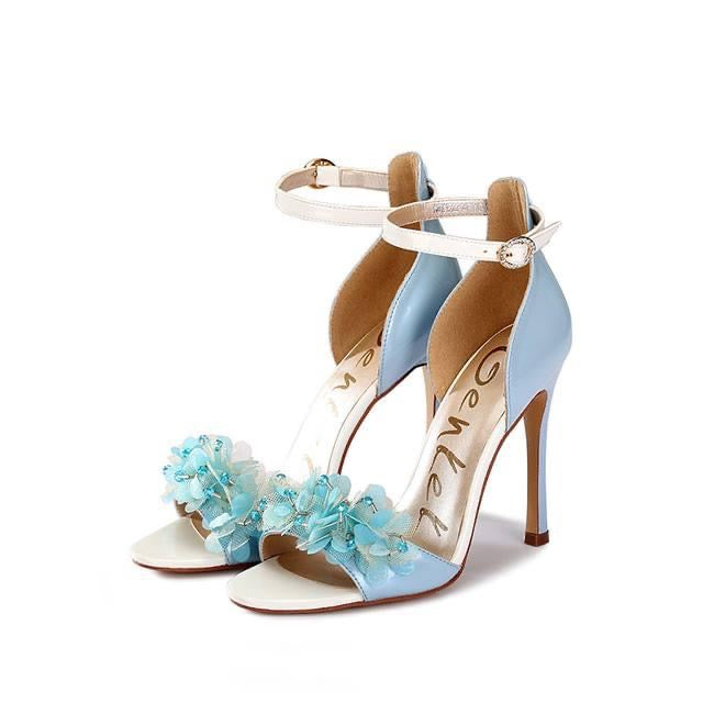 Aiko Flower Beaded Heels (Baby Blue)