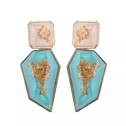 Aqua Gold Drop Down Earrings