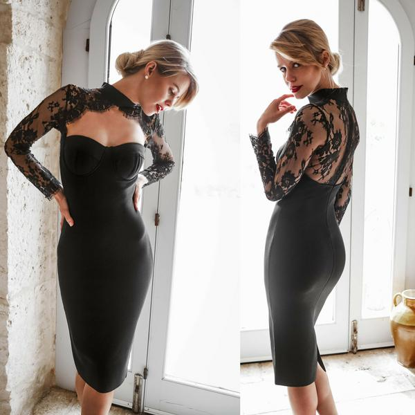 womens bandage lace dress