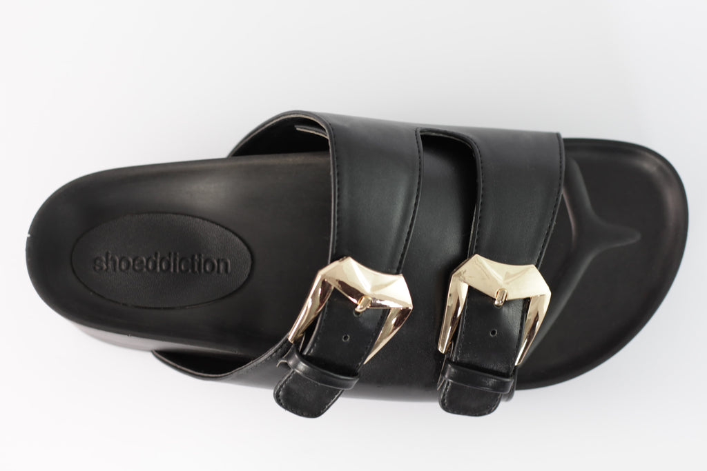 Taylor: Black Gold Buckle Flats