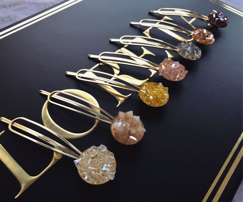 Crystal Gold Hair Clips Pins Set (7pcs)