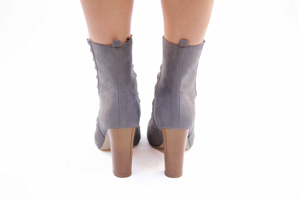 Lindsey: Gray Lace Up Boots