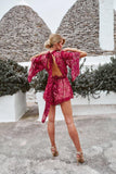 womens floral print red reddish flaming ruby cherry playsuit