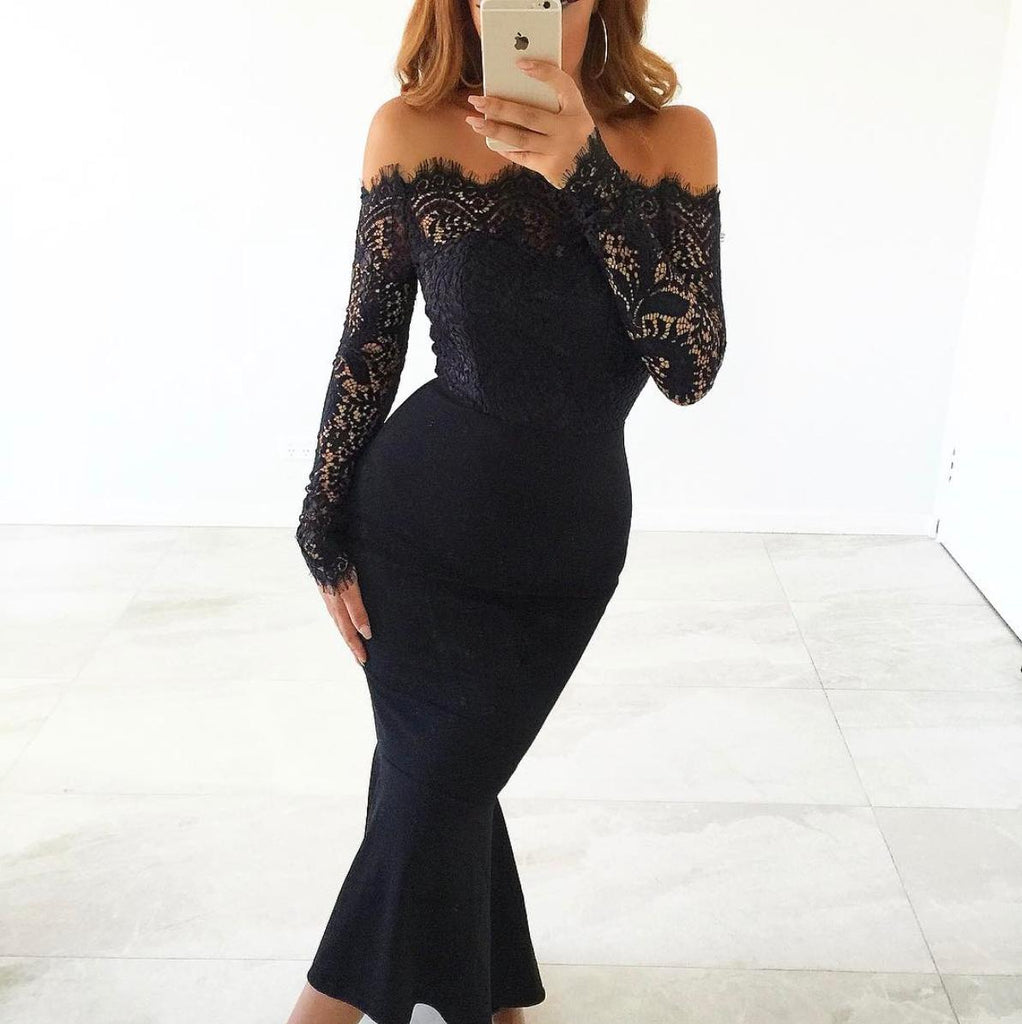 womens black lace dress