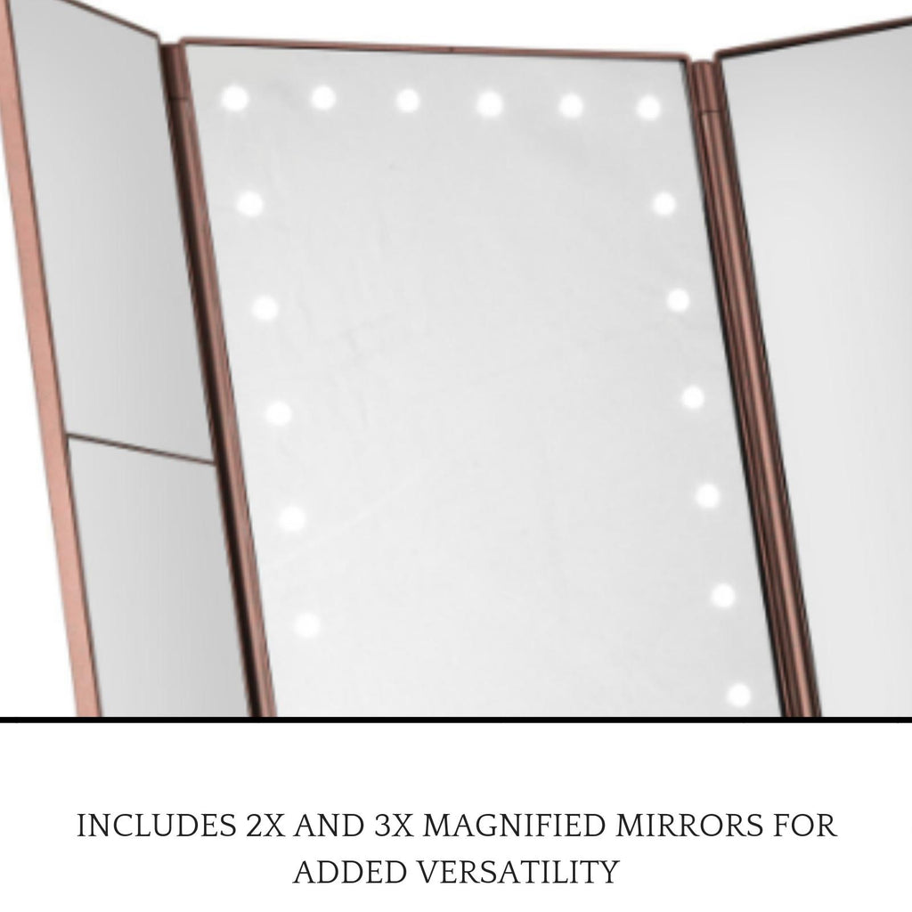 3-Way Makeup Mirror w/ LED Lights - Rose Gold