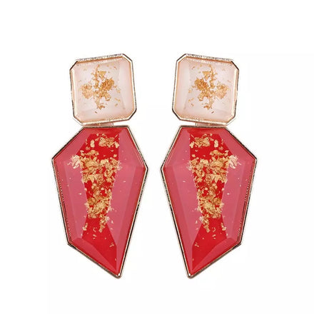 Red Gold Drop Down Earrings