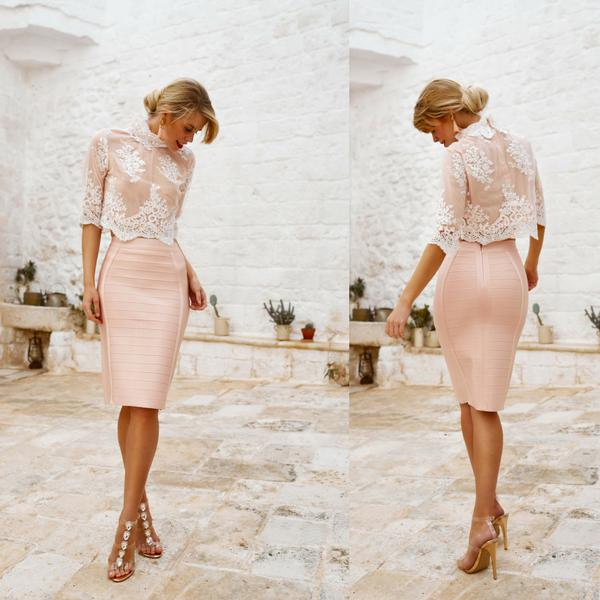 bandage 2 piece set with sequins lace