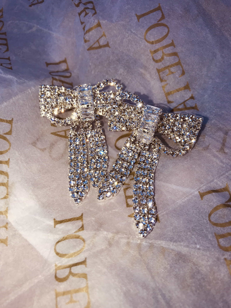 Crystal Bow Drop Down Earrings