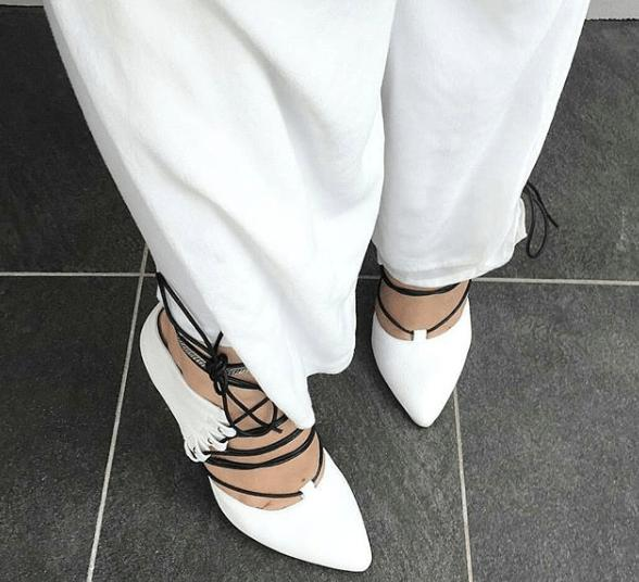Andrea: White Lace Up Heels