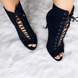 Brooke: Black Lace up Booties
