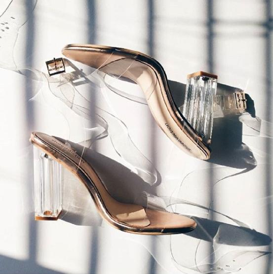 Erika: Rose Gold Clear Heels