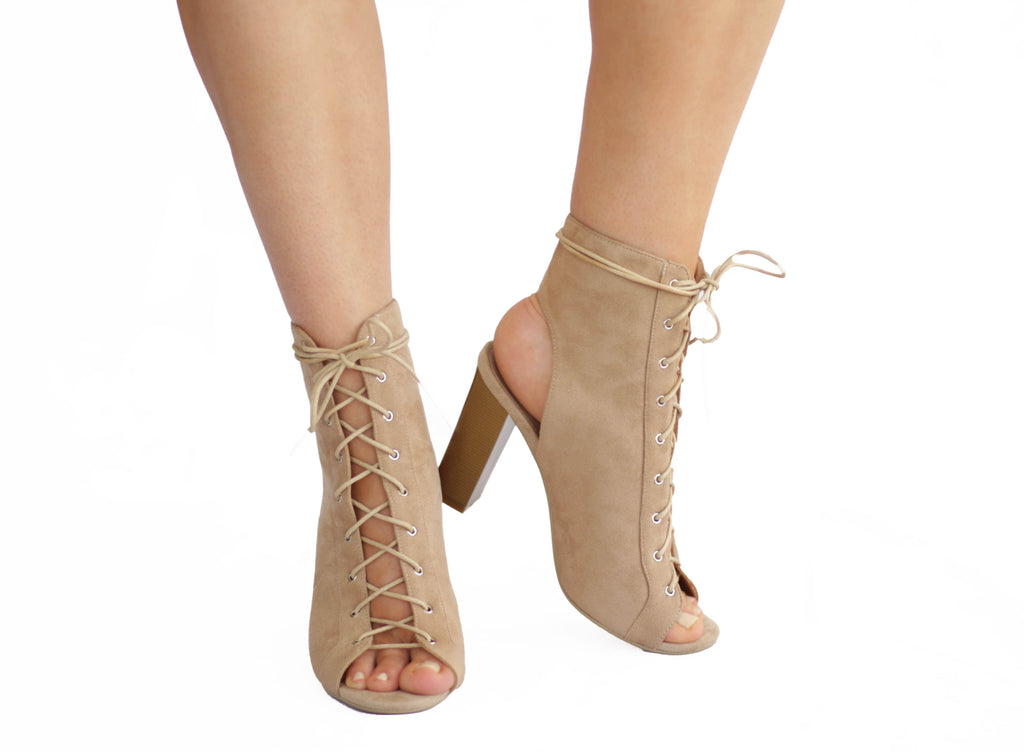 Katie: Nude Lace Up Shoes