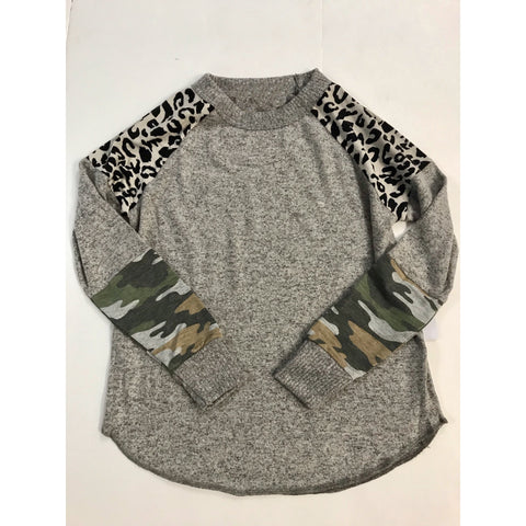 Tween/Teen Camo Leopard Sweater