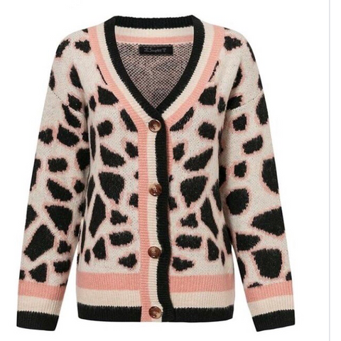 Ladies Leopard Print Cardigan