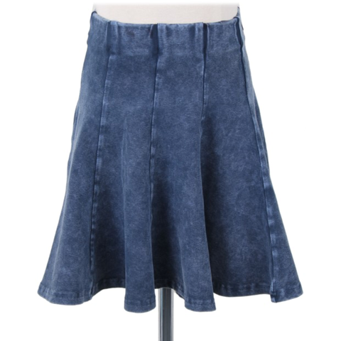 Kiki Riki Girls Mineral Wash Faux Denim Panel Skirt 41464 - Modest Necessities