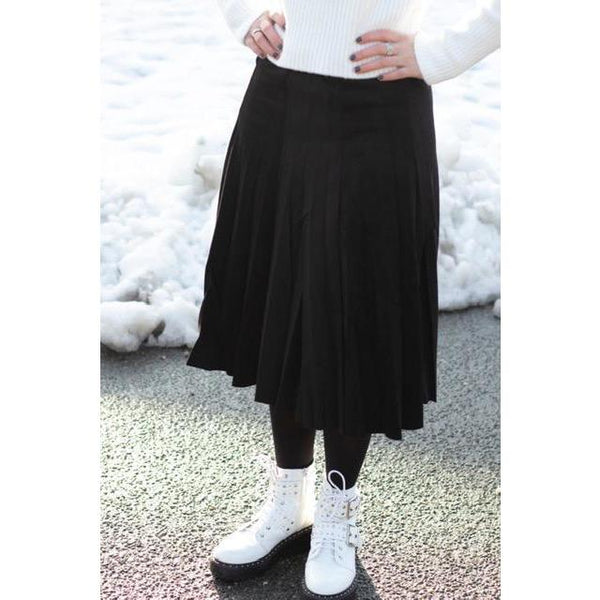 Ladies Suede Fit and Flair Pleated Skirt 515 (4 colors)
