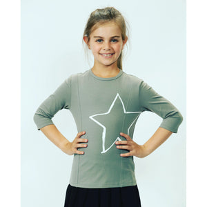 Girls Grey Tee With White Star DS2032B - Modest Necessities