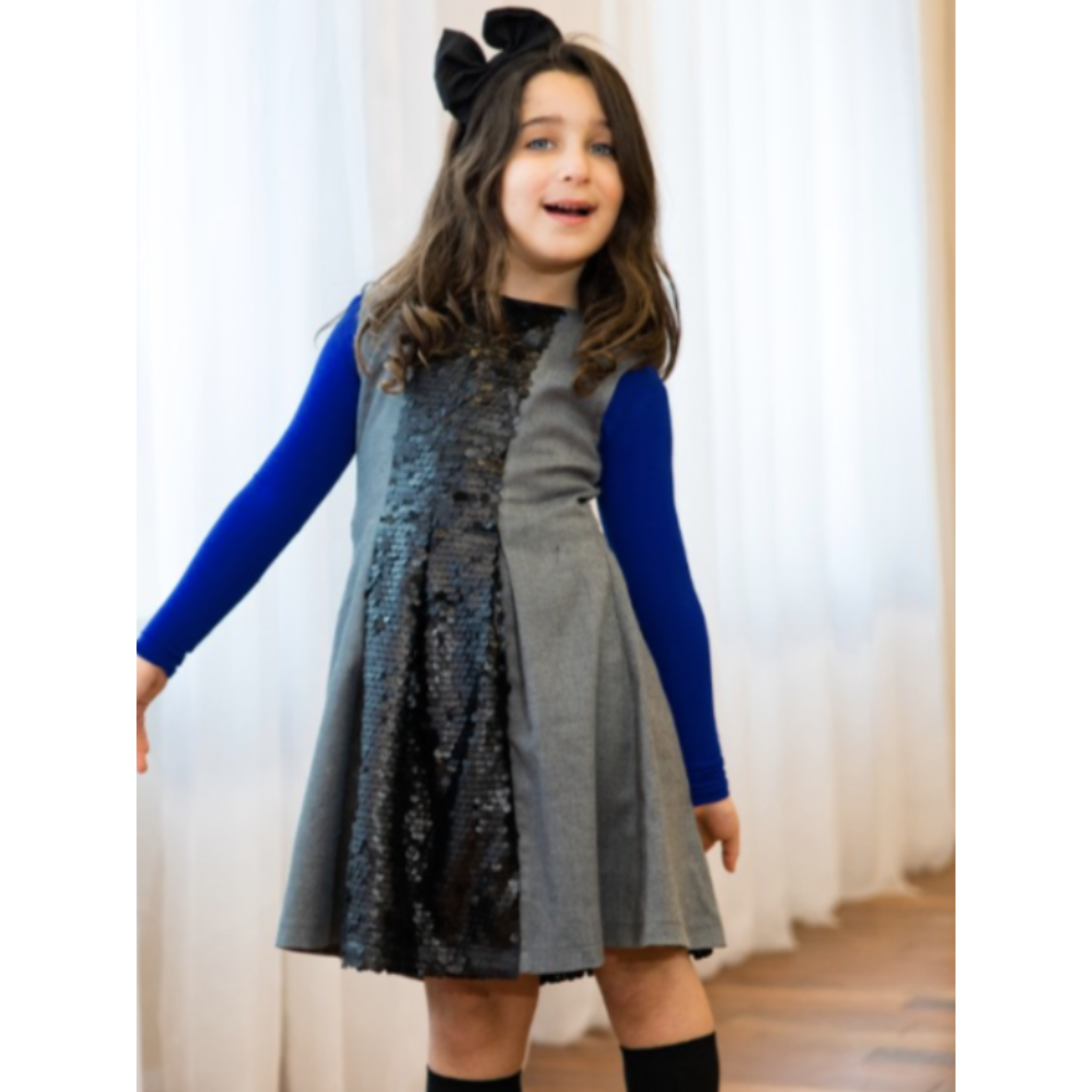 MM grey sequin dress M4083 - Modest Necessities