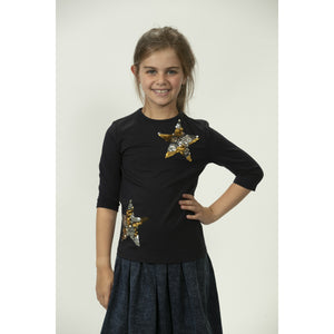 Girls Navy Tee With Metallic Sequin Stars DS2077A - Modest Necessities