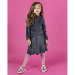 Girls Three Bows Velour Flair Skirt - Modest Necessities