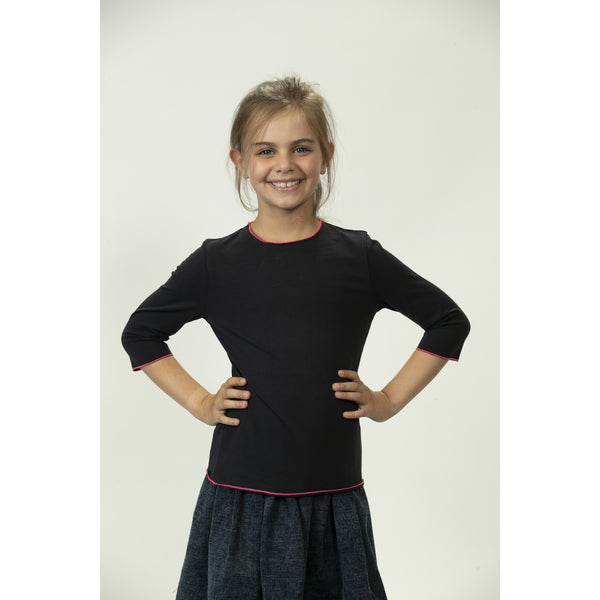 Tween Solid Tee With Neon Trim DS2134A - Modest Necessities