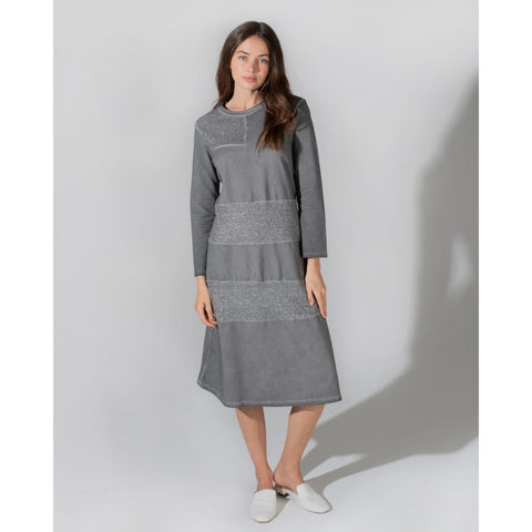 Ladies Mineral Wash Sweatshirt Dress with Metallic Detail