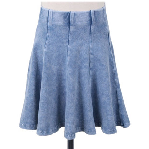 Ladies Panel Faux Denim Mineral Wash Skirt 41491 - Modest Necessities