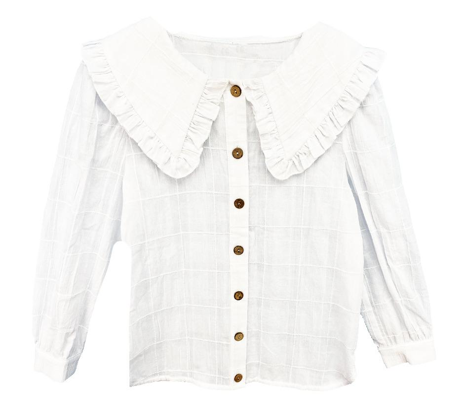 Girls White Blouse With Big Collar