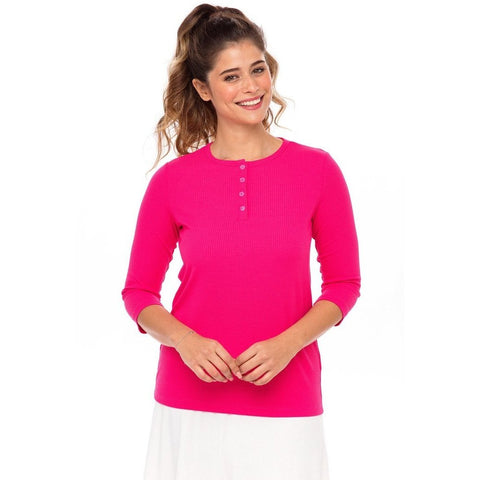Ladies Ribbed Henley Tee T3345 - Modest Necessities