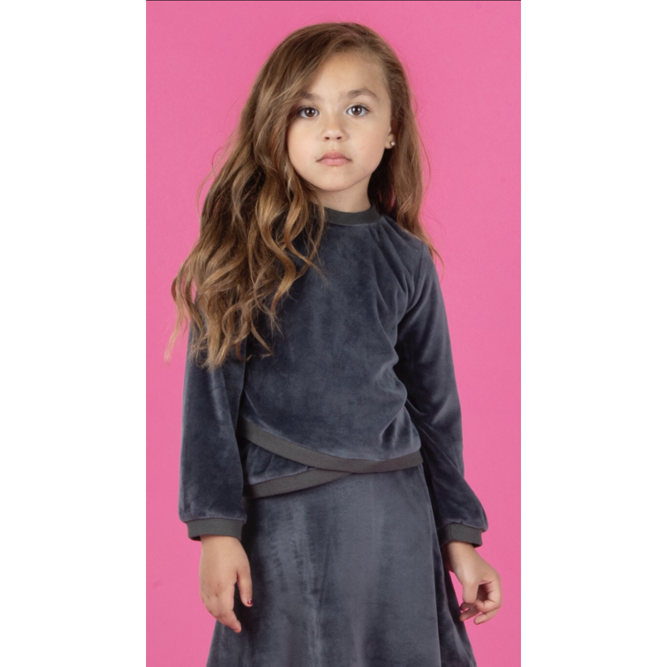 Girls Three Bows Velour Chill Top - Modest Necessities