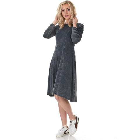 Ladies Mineral Wash Dress With Ruched Sleeve SS701