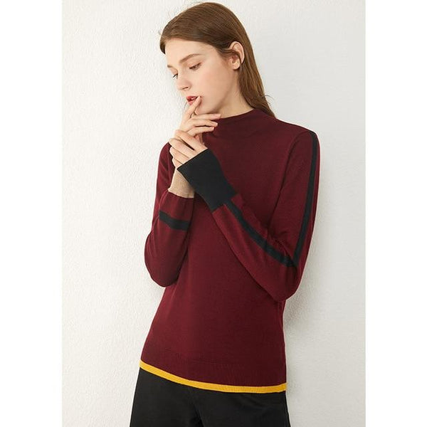 Ladies Contrasting Color Design Turtleneck Sweater