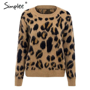 Simplee Sexy leopard knitted winter pullover sweater female Autumn long sleeve women jumper ladies Casual plus size streetwear