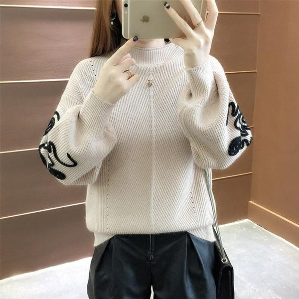 New  Fashion 2019 Women Autumn Winter  Embroidery Cat Brand  Sweater Pullovers  Warm  Knitted Sweaters Pullover  Lady - Modest Necessities