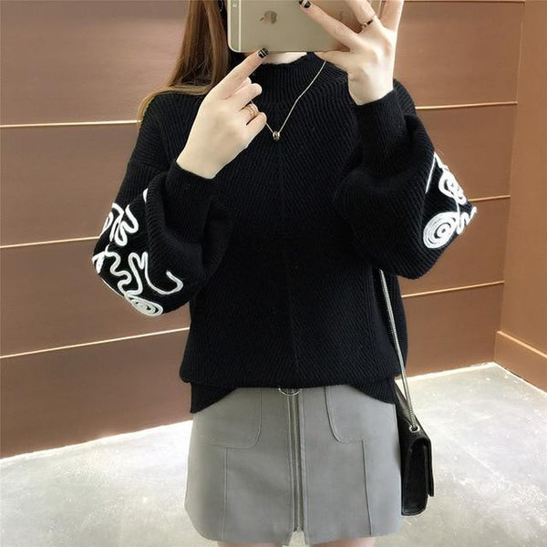 New  Fashion 2019 Women Autumn Winter  Embroidery Cat Brand  Sweater Pullovers  Warm  Knitted Sweaters Pullover  Lady